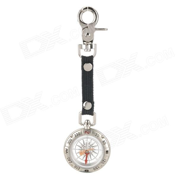 AceCamp 3132 Multi-function Liquid-Filled Pirate Compass w/ Strap / Keychain - Silver