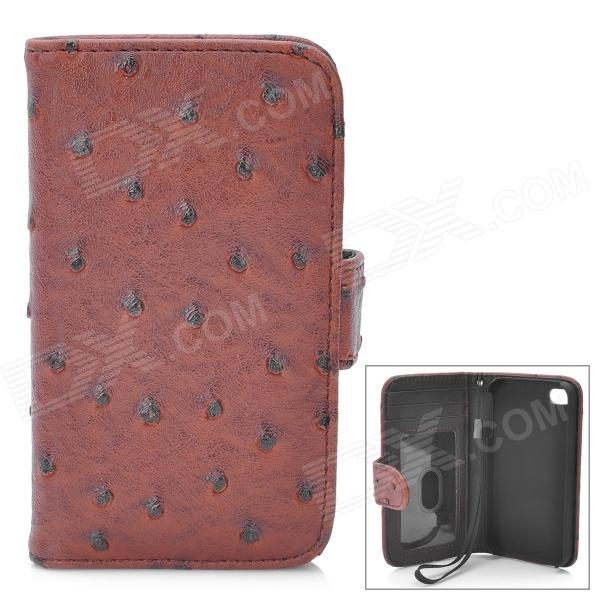 Protective Flip-Open Ostrich Grain PU Leather Case w/ Card Slot / Strap for Iphone 4 / 4S - Brown circle pattern protective pu leather case w strap for iphone 4 5 4s red