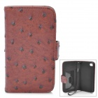Protective Flip-Open Ostrich Grain PU Leather Case w/ Card Slot / Strap for Iphone 4 / 4S - Brown