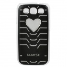 Protective PVC Plastic Case w/ Colorful LED Flashing Light for Samsung i9300 - Black (1 x CR2016)