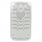 Protective PVC Plastic Case w/ Colorful LED Flashing Light for Samsung i9300 - Silver (1 x CR2016)