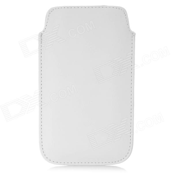 Protective PU Leather Pouch Case for Iphone 5 - White protective pu leather bag pouch with for iphone 5 blue white