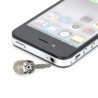 Skull Style Rhinestone 3.5mm Earphone Dust-proof Plug - Grey + White