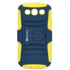 Protective Silicone + ABS Case w/ Holder Stand for Samsung Galaxy S3 i9300 - Yellow + Deep Blue