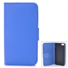 Protective Flip-Open PU Case w/ TPU Back Holder / Card Slots for iPhone 5 - Blue