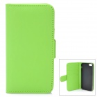 Protective Flip-Open PU Case w/ TPU Back Holder / Card Slots for iPhone 5 - Green