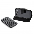 Genuine Cow Leather Case + Wireless Bluetooth V3.0 Keyboard for Samsung Galaxy S3 i9300 - Black