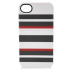 DIY Protective Plastic Back Case w/ 14 Extra Stripes for Iphone 4 / 4S - White