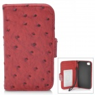 Protective Flip-Open Ostrich Grain PU Leather Case w/ Card Slot / Strap for Iphone 4 / 4S - Red