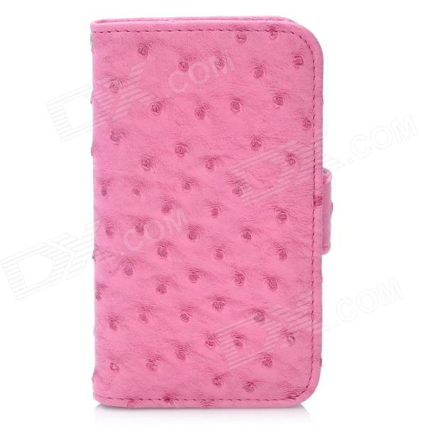 где купить Protective Flip-Open Ostrich Grain PU Leather Case w/ Card Slot / Strap for Iphone 4 / 4S - Pink дешево