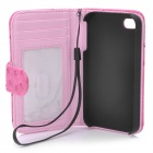 Protective Flip-Open Ostrich Grain PU Leather Case w/ Card Slot / Strap for Iphone 4 / 4S - Pink