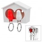YSDX-372 Bird Style Whistle + Schlüsselbund w / Nest - White + Red (2 PCS)