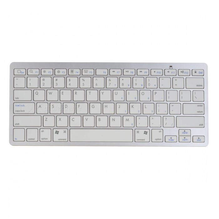 Bluetooth V3.0 Wireless 78-Key Keyboard - White ( 2 x AAA) compact 78 key slim portable bluetooth wireless qwerty keyboard for ipad iphone 2 x aaa