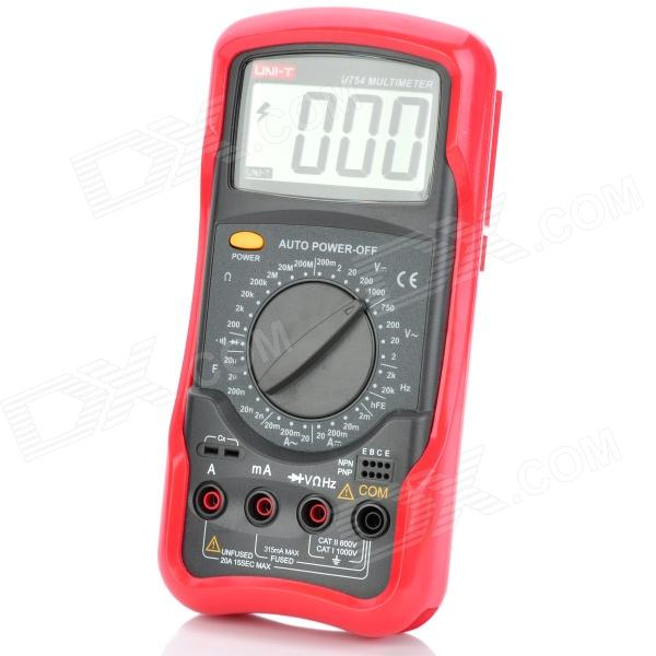 Genuine UNI-T UT54 2.8 LCD Digital Multimeter - Grey + Red (1 x 6F22) uni t ut60g 2 3 lcd digital multimeter red deep grey