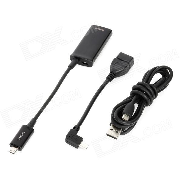 3-in-1 MHL + OTG + USB Charging Cables - Black