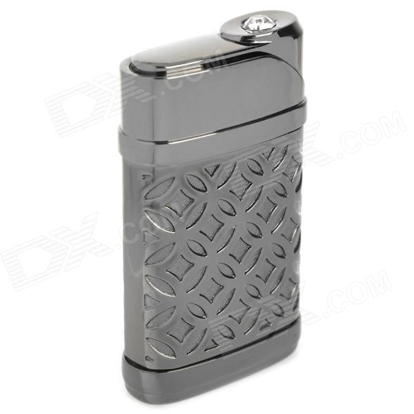 Windproof Zinc Alloy Electroplating Butane Jet Lighter - Deep Grey