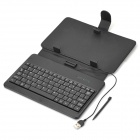 Universal Protective PU Leather Case w/ USB Wired Keyboard / Stand / Stylus for 7'' Tablets - Black