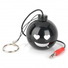 Mini Smiling Face Bomb Style Rechargeable Speaker - Black (3.5mm Plug / 70cm-Cable)