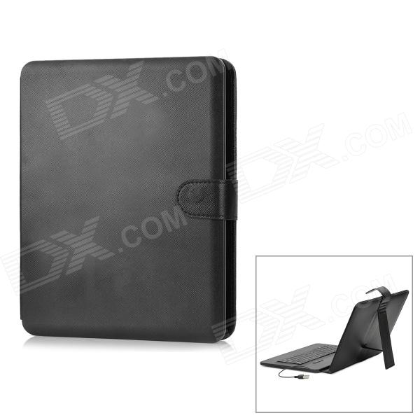 "Protective PU Leather Case w/ USB Wired Keyboard / Stand / Stylus for 9.7""~10"" Tablet - Black"