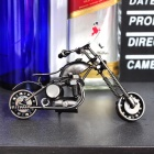 Craft Wrought Iron Motorcycle Model - Silver Grey