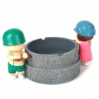 Little Sweet Couple Pushing Manual Stone Mill Style Ashtray - Grey + Green + Pink