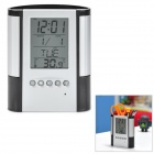 "2.8"" LCD Display Plastic Calendar Pen Holder - Black + Silver (1 x CR2025)"