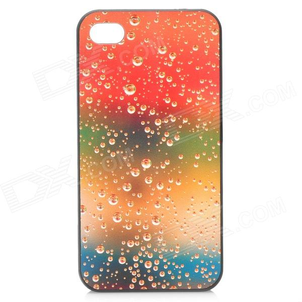 Soda Bubbles Style Protective Plastic Back Case for Iphone 4 / 4S - Orange + Yellow + Green stylish bubble pattern protective silicone abs back case front frame case for iphone 4 4s