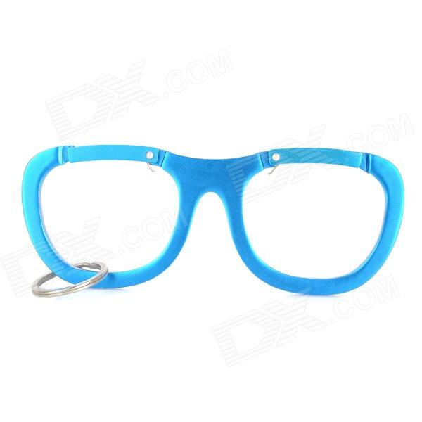 Eyeglasses Style Aluminum Alloy Carabiner Hook w/ Key Ring - Blue