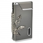 Windproof Marijuana Leaf Pattern Electroplating Butane Jet Lighter - Silver Black