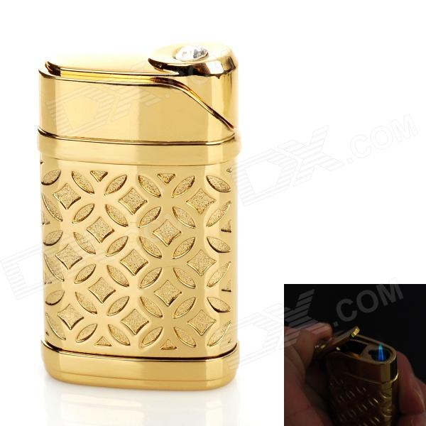 Windproof Zinc Alloy Electroplating Butane Jet Lighter - Golden