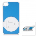 Protective PC Back Case with Rotatable Holder for Iphone 4/ 4S - Blue + White