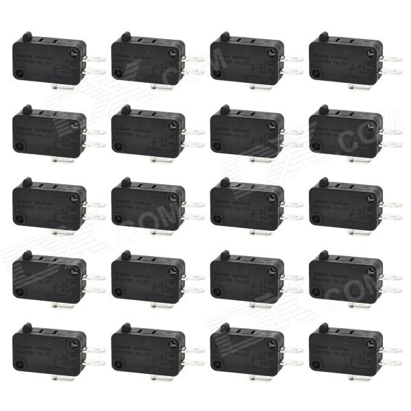 3-Pin NC / NO / C Momentary Limited Micro Switch (20 PCS) 10pcs ac 380v 15a black button actuator spdt momentary micro switch blue