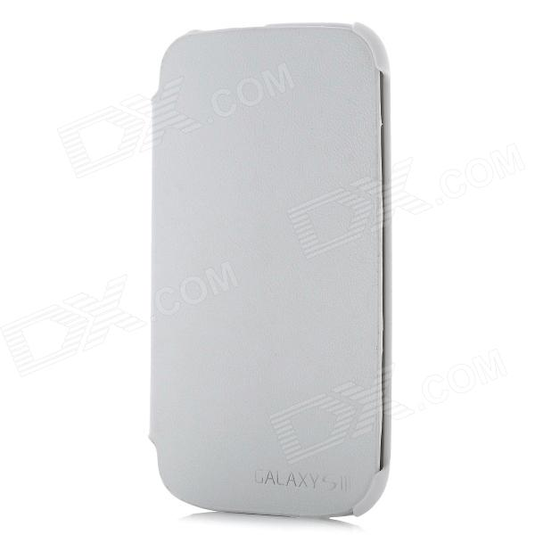Protective PU Leather Cover Plastic Case w/ Stand for Samsung i9300 / i9308 - White