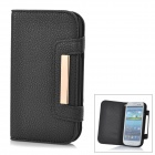 Protective Genuine Leather Case w/ Card Slots for Samsung Galaxy S3 i9300 - Black