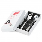 Hollow Heart Shaped Stainless Steel Fork + Spoon - Silver (2 PCS)