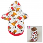 Cute Small Bear Pattern Flannel Dog Apparel Pet Clothes - Red