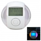 2.5&quot; LCD Multifunction Alarm Clock w/ Music / Mood Light - Transparent + White (3 x AA)