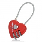Sweet Heart Shaped Stainless Steel Password Code Travel Suitcase Lock - Red