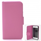 Fashion Protective PU Leder + TPU Flip-Open Case w / Magnet + Card Slot für iPhone 5 - Deep Pink