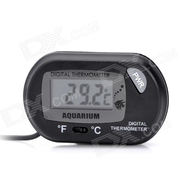 Waterproof Aquarium Digital Water Thermometer w/ Remote Sensor - BlackPet Fish Zone<br>Form  ColorBlackPoweredPower AdapterBatteryPacking List<br>