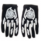 Cool Skeleton Hand Pattern Protection Gloves - Black + White (Pair)