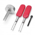 Stainless Steel Lock Picks Set for Third BMW - Silver + Red