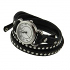 Intercrew Genuine Cow Leather Fashion Rivet Wrap Style Quartz Wristwatch for Women - Black + Silver