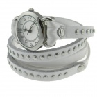 Intercrew Genuine Cow Leather Fashion Rivet Wrap Style Quartz Wristwatch for Women - White + Silver