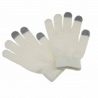 Universal 3-Finger Touch Screen Winter Gloves for Iphone / Ipad + More - White (M-Size / Pair)