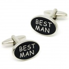 "Fashion ""BEST MAN"" Words White Steel Cufflinks for Men - Silver + Black (Pair)"