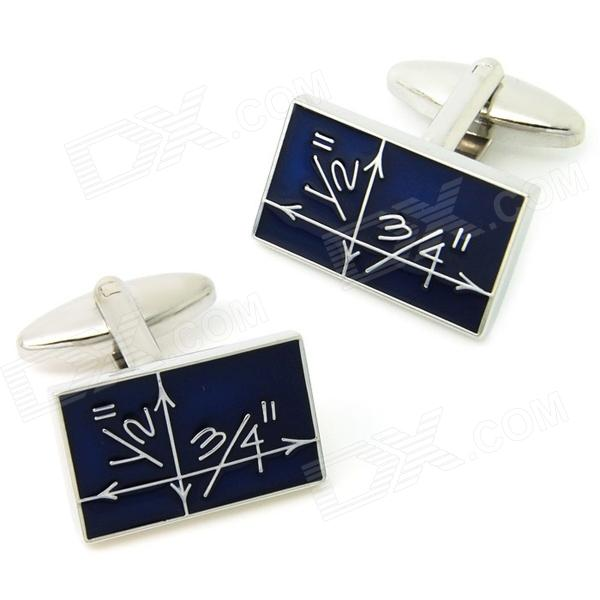 Fashion Coordinate Axis Pattern White Steel Cufflinks for Men - Silver + Blue (Pair)
