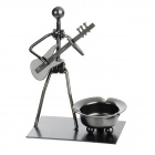 Little Wandering Guitarist Style Iron Ashtray - Black