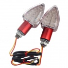 DIY Motorcycle Decoration 1.2W 15-LED Red Steering Lights - Red + White (12V / 2 PCS)