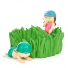 Little Soldiers Playing Hide and Seek Spiel Stil Aschenbecher - Green + Pink + Blue